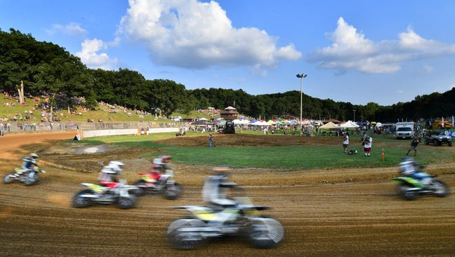 Motorcycles round the Peoria Motorcycle Club track during the Peoria TT races. They have been canceled for 2020.