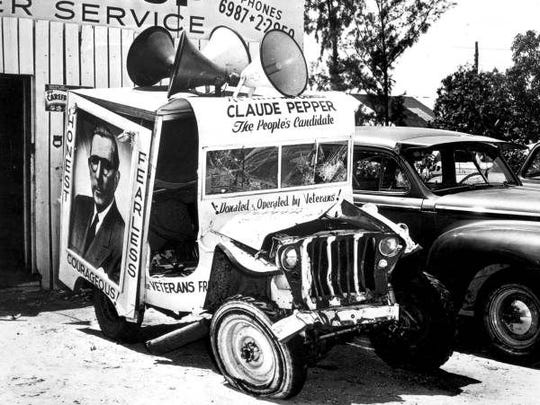Claude Pepper's 1950 campaign vehicle reflects the loss that he suffered in a hard fought battle against George Smathers.