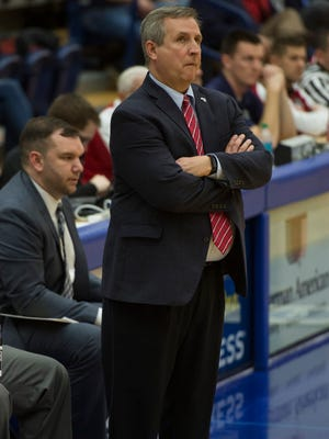 USI Head Coach Rodney Watson and his assistant coaches wore tennis shoes in honor of Coaches Against Cancer in the second half at USI's Physical Activities Center on Thursday, Jan. 25, 2018. The Screaming Eagles defeated the Rangers 74-55.