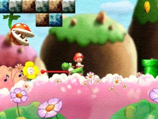 "Yoshi and his pals return to save baby Mario and baby Luigi in ""Yoshi's New Island"" for the Nintendo 3DS."
