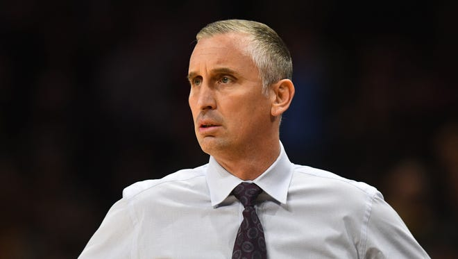 Jan 4, 2018: Arizona State Sun Devils head coach Bobby Hurley looks on during the first half at the Coors Events Center.