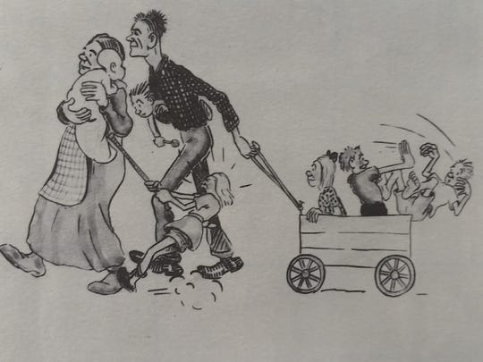 "Sam Hinton created this drawing of the McKinney family in the early 1920s as part of a series on the village's pioneers, drawn while serving as director of the Palm Springs Desert Museum from 1942-'44. The picture, showing Sean Wheeler's grandmother in her mother's arms and the other kids being ""wild,"" is displayed in the Palm Springs Historical Society's McCallum Adobe Museum on loan from the Palm Springs Art Museum."