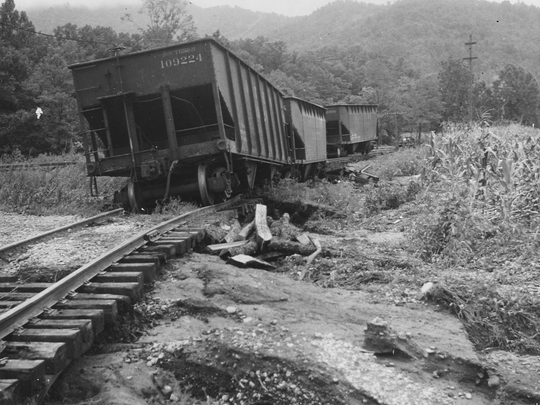 From the archives: Twisted railroad track in Asheville after 1940 flood.