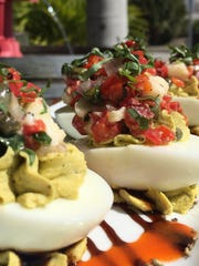 Pesto deviled eggs from Cork Soakers.