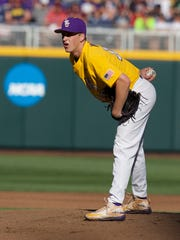 Jun 19, 2017; Omaha, NE, USA; LSU Tigers pitcher Eric