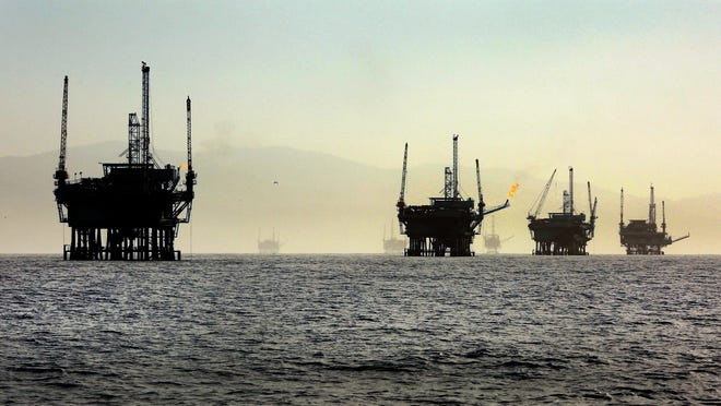 A line of off-shore oil rigs in the Santa Barbara Channel near the Federal Ecological Preserve en route to the Channel Islands National Marine Sanctuary in March 2015. The Trump administration proposed to open for exploration the largest expanse of the nation's offshore oil and natural gas reserves ever offered to global energy companies. (Al Seib/Los Angeles Times/TNS)