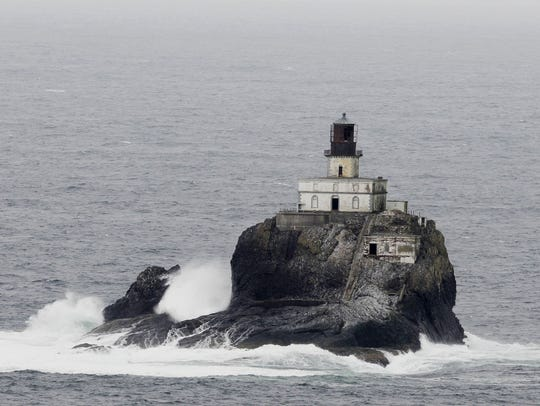 A view of Tillamook Rock Lighthouse is seen from the