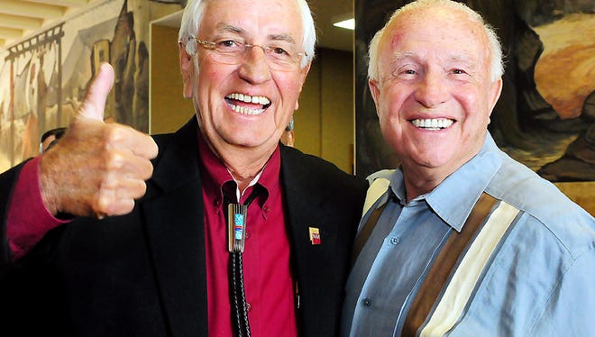 Garrey Carruthers with legendary NMSU basketball coach Lou Henson on May 10, 2013.
