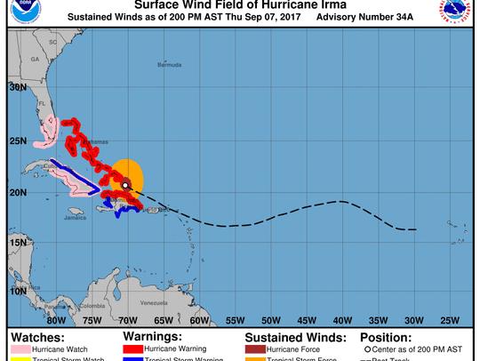 Hurricane Irma 2 p.m., Sept. 7, 2017