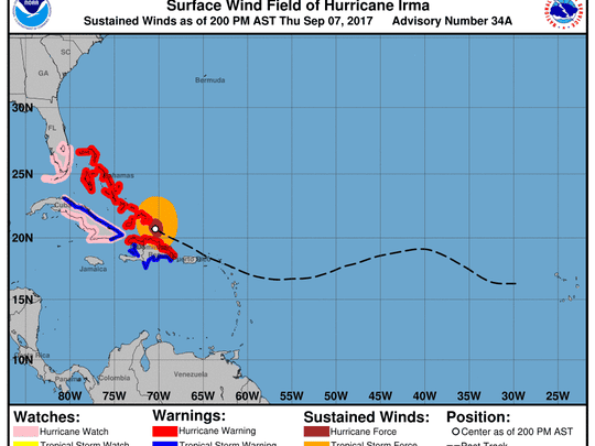 Hurricane Irma 2 p.m., Sept. 7, 2017