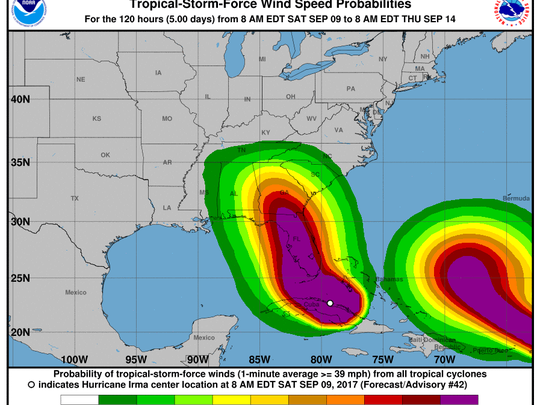 The latest wind map has the odds of hurricane force winds in Tallahassee creeping ever upward