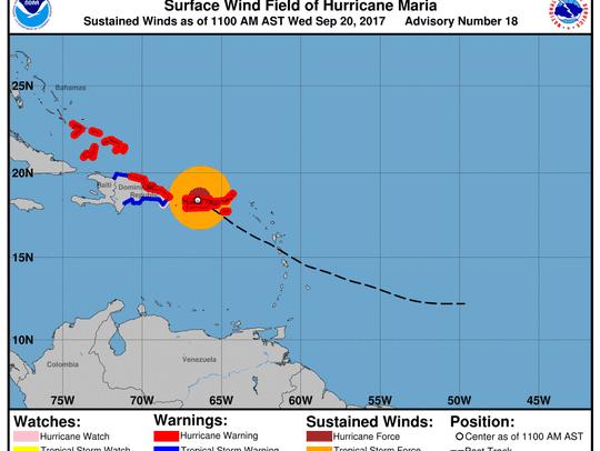 Hurricane Maria 11 a.m. Sept. 20, 2017.