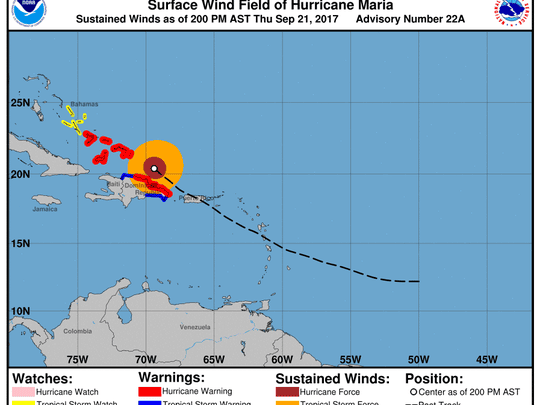 Hurricane Maria 2 p.m. Sept. 21, 2017