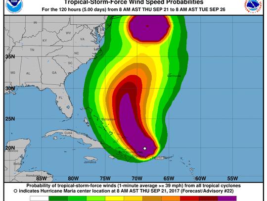 Hurricane Maria 2 p.m. Sept. 21, 2017