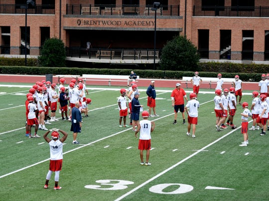 Brentwood Academy football team practices during an off week on Thursday, Nov. 2, 2017.