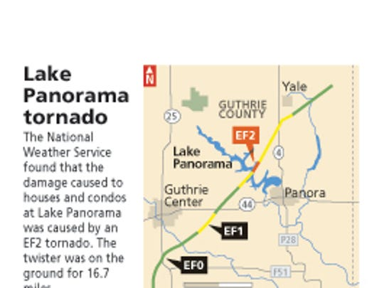 Map of tornado path in Guthrie County