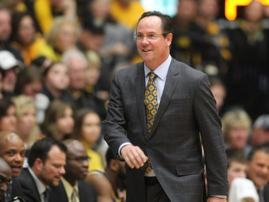 Dec 3, 2016; Fort Collins, CO, USA; Wichita State Shockers head coach Gregg Marshall react during the first half against the Colorado State Rams at Moby Arena. The Shockers won 82-67. Mandatory Credit: Chris Humphreys-USA TODAY Sports
