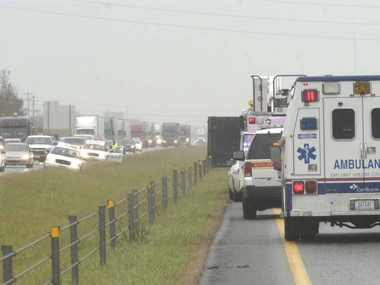 Median cables can be seen in this 2009 News-Leader file photo. Two men reported head injuries after a tractor-trailer rig collided with a pickup truck on Interstate 44 this afternoon in the west bound lane near mile marker 74, officials said.