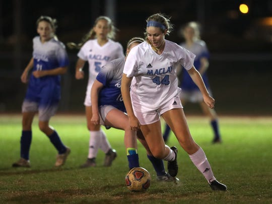Maclay's Julianna Heuchan dribbles the ball down field against Rocky Bayou Christian in the Marauder's 2-1 District 1-1A championship win on Friday, Jan. 26, 2018.