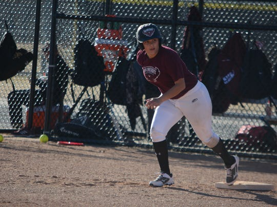 McMurry outfielder Courtney Owen does base running drills during a practice Friday, Jan. 19, 2018, at Red Bud Park.