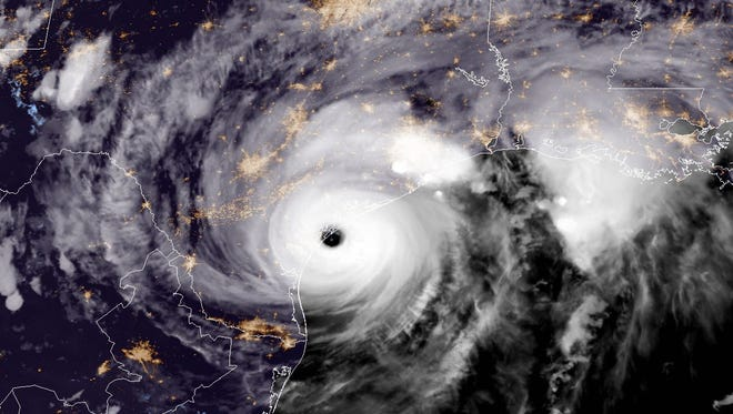 A satellite image captured the moment Hurricane Harvey made landfall in Texas.