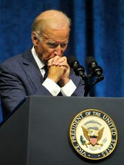 Vice President Joe Biden pauses while speaking at the
