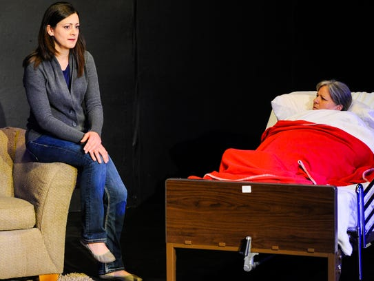 Actresses Kayle Petitjean and Debbie Ardoin on stage