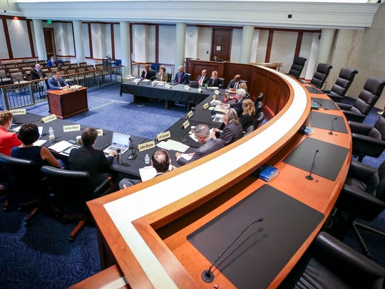 State Judicial Nominating Commission interviews a judicial candidate in this file photo from July 2018.