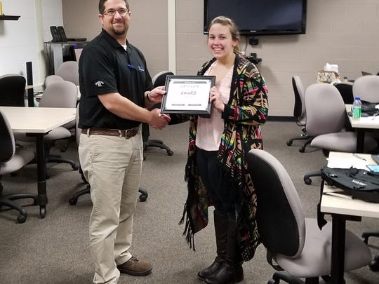 YTI Career Institute student Ashlynn Corrigan has been named a recipient of the Clark Associates Scholarship. The scholarship recognizes two YTI Career Institute students who demonstrate a strong desire to develop themselves and prepare for a successful career in their chosen fields. The award is presented by Clark Associates, a privately held company based in Lancaster that serves the food service industry nationwide. Ashlynn is accepting her scholarship from James Vergos, Associate Director of Education – Trades, Technology, and Business. submitted photo