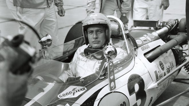 """Paul Newman during the filming of the movie """"Winning"""" at the Indianapolis Motor Speedway in 1968."""