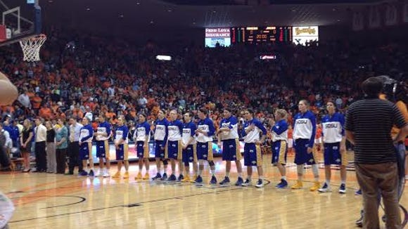 SDSU players await the anthem in El Paso.