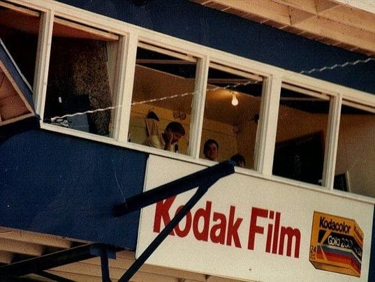 My brother Kyle took this photo of me in the press box at Legion Park in Great Falls, Mont., 25 years ago this month. I guess that the sign on the press box foreshadowed where my career was going to head in the future.