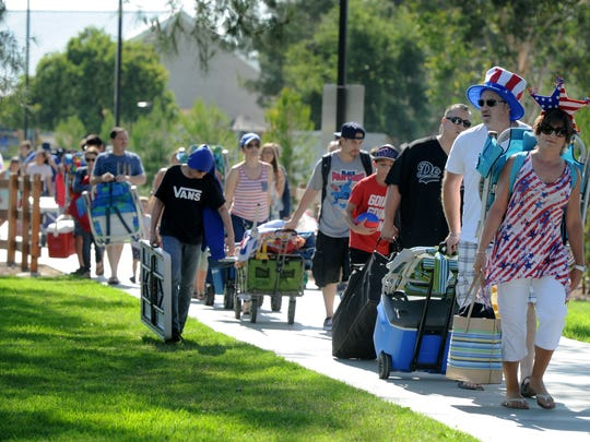 People arrived early to get a spot at Arroyo Vista Community Park in Moorpark for the city's 3rd of July Fireworks Extravaganza in 2018.