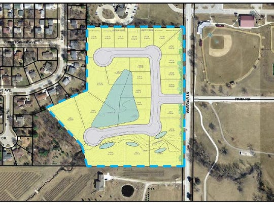 A map filed with the city of Waukee shows how homes will be laid out in Brandon's Reserve, 1010 Warrior Lane.