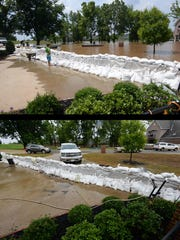 TOP: A house in Les Maisons Sur La Rouge where the only thing keeping the water from getting into the house was a wall of sandbags. BOTTOM: The same site a week later.
