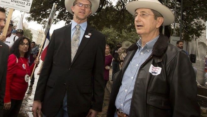 Davey Edwards (left) and Jerry Patterson, Republican candidates for Texas land commissioner, at a rally at the Alamo on Feb. 23. Edwards and Patterson are two of three Republicans (Rick Range is the third) challenging incumbent George P. Bush for the job.