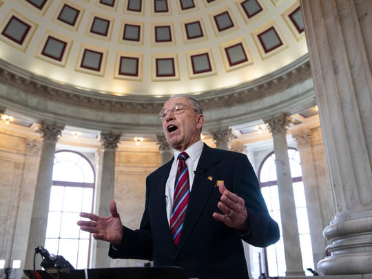 Senate Judiciary Committee Chairman Chuck Grassley, R-Iowa, answers questions during a TV news interview on Capitol Hill April 10, 2018.