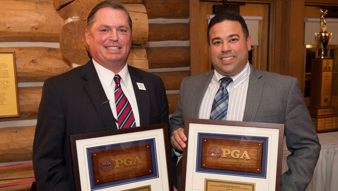 The PGA Wisconsin Section celebrated the state's golf leaders recently at Blackwolf Run, where Whistling Straits and Blackwolf Run merchandise manager Josue Reyes was recognized as Merchandiser of the Year. Jim Richerson, general manager and group director of golf, was honored as the Wisconsin PGA Golf Professional of the Year.