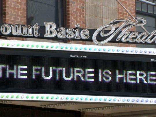 The marque ouside the Count Basie Theatre in Red Bank