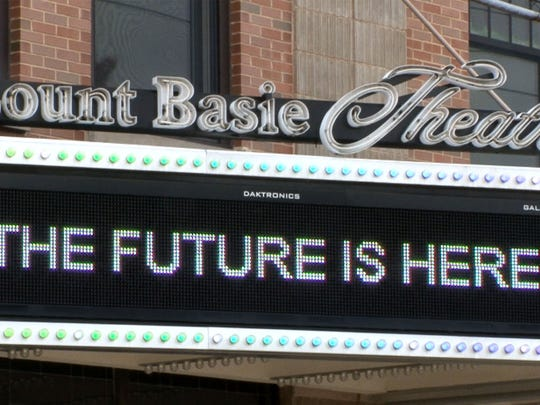 The marque ouside the Count Basie Theatre in Red Bank heralds the expansion there September 20, 2017.