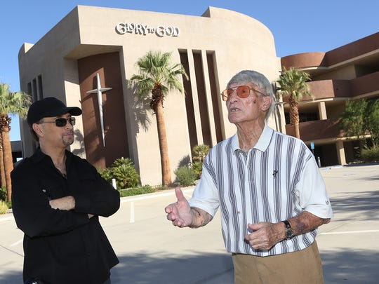 "Steve Johns and Joe Hanna talk about the history and ownership changes of a parcel of land that now hosts the ""Glory to God Ministries"" Thursday, September 18, 2014 .