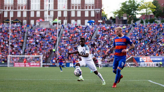 FC Cincinnati defender Sem de Wit (51) chases down a ball during the Lamar Hunt U.S. Open Cup soccer match between Minnesota United and FC Cincinnati, Wednesday, June 6, 2018, at Nippert Stadium in Cincinnati.