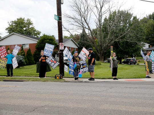 Five Westboro Baptist Church protesters demonstrate