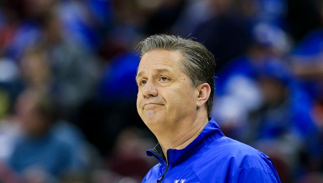 Kentucky head coach John Calipari during practice in preparation for West Virginia at Cleveland's Quicken Loans Arena. March 25, 2015