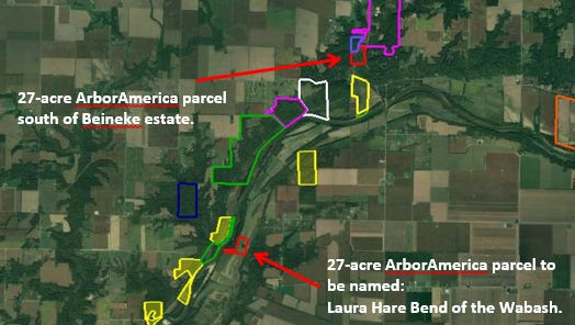 A map outlining the two parcels recently acquired by NICHES Land Trust.
