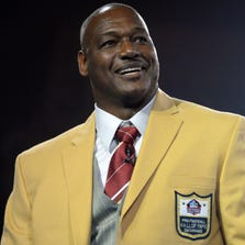 Derrick Brooks poses at the 2014 Pro Football Hall of Fame Enshrinees gold jacket dinner at Canton Memorial Civic Center.