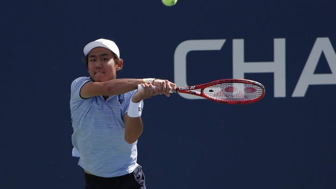 Yoshihito Nishioka, shown in this 2019 photo, will face Reilly Opelka in the final of the Delray Beach Open after beating Ugo Humbert in Saturday's semifinal. ]Geoff Burke/USA TODAY Sports]