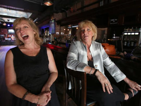 Teachers Mary Barresi of Lakeland High School, left, and Linda Ventura of Port Chester High School at Garcia's on Wednesday.