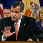 Governor Christie with Lt. Gov. Kim Guadagno during an Oct. 2015 press conference in Trenton.