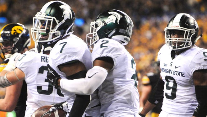 Demetrious Cox (7) and Montae Nicholson (9) return as MSU's starting safeties following a season in which the Spartans at times struggled to stop opponents' passing attacks.